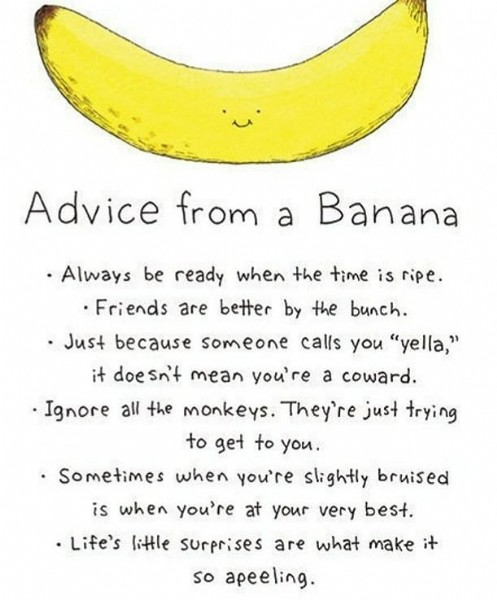 """Photo by Barbara Ann Love in Oakland, New Jersey. May be an image of fruit and text that says 'Advice from a Banana Ignore Always be ready when the time is ripe. .Friends are better by the bunch. Just because someone calls you """"yella,"""" it doesn't mean you're a coward. all the monkeys. They're just trying to get to you. •Sometimes when you're slightly bruised is when you're at your very best. Life's little surprises are what make it so apeeling.'."""