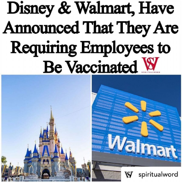Photo by  Keeping Up With Grissey  on July 30, 2021. May be an image of text that says 'Disney & Walmart, Have Announced That They Are Requiring Employees to Be Vaccinated W SPIRITUALWORD × Walmart spiritualword'.