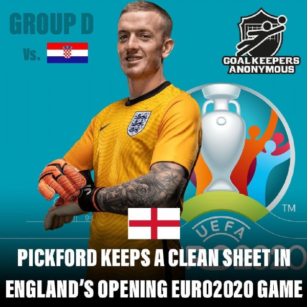 Photo by Goalkeepers Anonymous on June 13, 2021. May be an image of 1 person and text that says 'GROUPD Vs. GOALKEEPERS ANONYMOUS ANONY TM UEFA PICKFORD KEEPS A CLEAN SHEET IN ENGLAND'S OPENING EURO2020 GAME'.