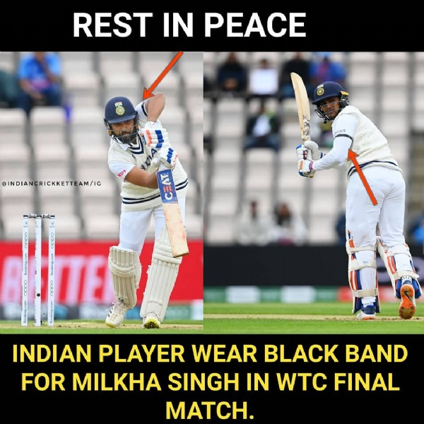 Photo by INDIANCRICKETTEAM (75k) on June 19, 2021. May be an image of 1 person, playing a sport and text that says 'REST IN PEACE INDIANCRICKKETTEAM/IG EIE E 1 CO0s P INDIAN PLAYER WEAR BLACK BAND FOR MILKHA SINGH IN WTC FINAL MATCH.'.
