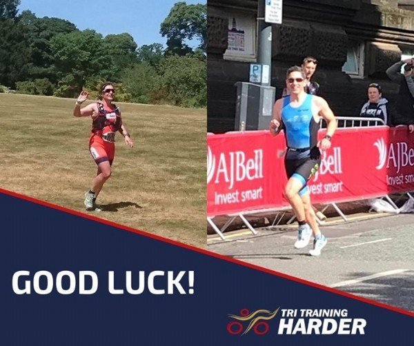 Photo by Tri Training Harder on June 19, 2021. May be an image of 2 people, people standing, outdoors and text that says 'l AJBell Invest smart bell vest smart YAJB lovestsm GOOD LUCK! TRI TRAINING HARDER'.