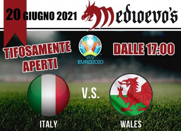 Photo by Medioevo's Castelletto on June 19, 2021. May be an image of text that says '20 GIUGNO 2021 Medloevo's TIFOSAMENTE APERTI UEFA EURO2020 DALLE 17:00 V.S. ITALY WALES'.