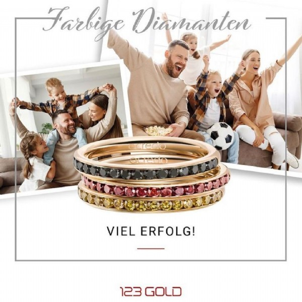 Photo by Trauringzentrum Offenburg on June 19, 2021. May be an image of 7 people, jewelry and text that says 'Farbige Diamanten caredo VIEL ERFOLG! 123 GOLD'.