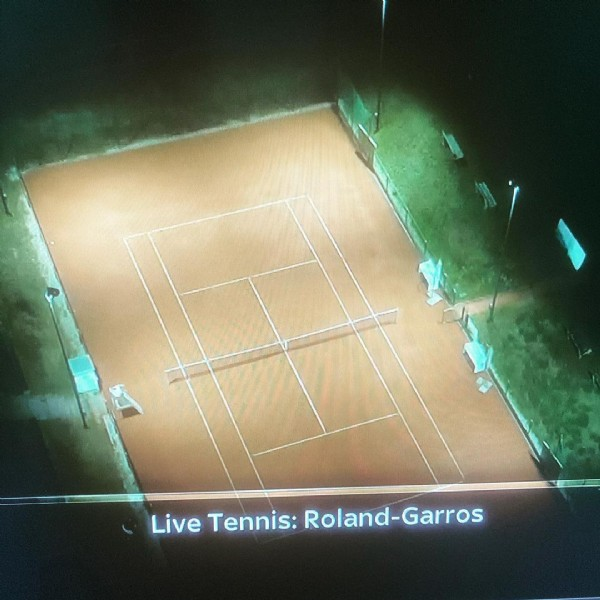 Photo by Look Good, Feel Great. in On The Sofa. May be an image of screen and text that says 'Live Tennis: Roland Roland-Garros'.