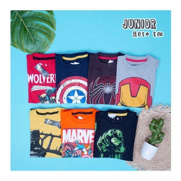 Photo by ECER GROSIR BAJU ANAK MURAH on June 08, 2021. May be an image of text that says 'JUNIOR Hero tee WOLVER AM ERI MARVE'.
