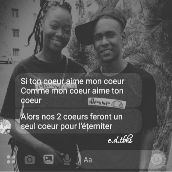 Photo shared by e.d.tbhs on June 16, 2021 tagging @clarina846, and @cayden__bb. May be a black-and-white image of 2 people and text that says 'Si ton coeur aime mon coeur Comme mon coeur aime ton çoeur ellesse Alors nos 2 coeurs feront un seul coeur pour l'éterniter c.d.tbhs Aa'.