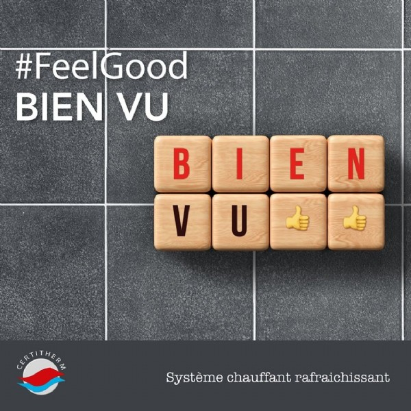Photo by Cochebat on June 04, 2021. May be an image of text that says '#FeelGood BIEN VU BLEN I Ð E N VUE 自 CERTITHERM Système chauffant rafraichissant'.