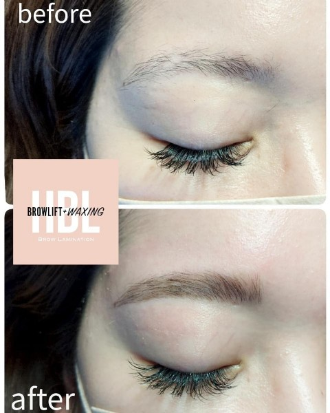 Photo shared by waxing salon meyou on June 18, 2021 tagging @meyou_wax. May be an image of one or more people, cosmetics and text that says 'before Α HDL BL BROW LAMINATION after'.
