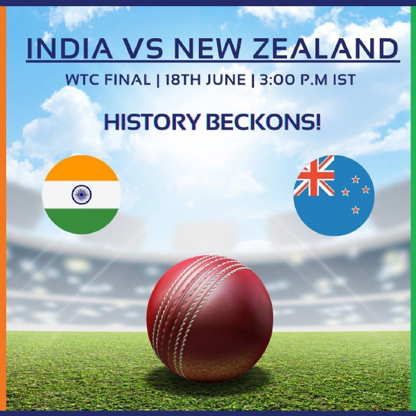 Photo by Sports For All on June 17, 2021. May be an image of text that says 'INDIA vS NEW ZEALAND WTC FINAL I 18TH JUNE 3:00 P.M IST HISTORYE BECKONS! HO 米'.