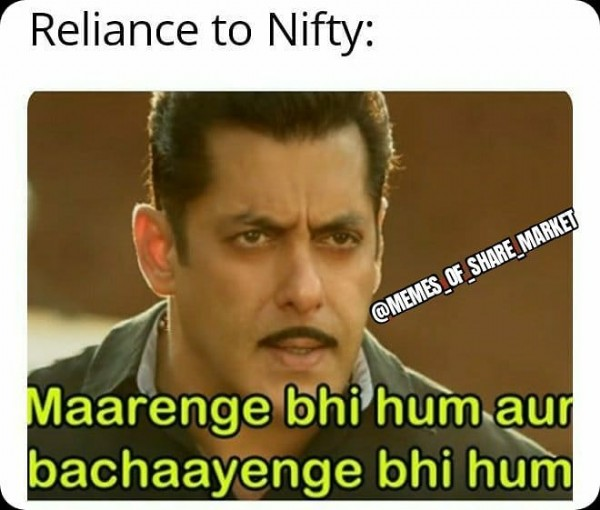 Photo by Share Market Meme on July 28, 2021. May be a meme of 1 person and text that says 'Reliance to Nifty: SHARE SHARE_MARKET _MARKET @MEMES OF Maarenge bhi hum aur bachaayenge bhi hum'.