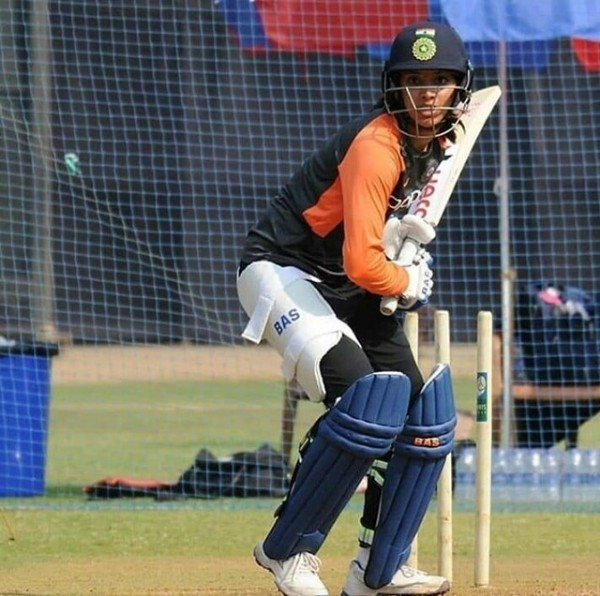 Photo by Smrithi Mandhana on June 10, 2021. May be an image of 1 person, playing a sport and text.