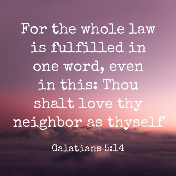 Photo by Salvation comes from Him on June 18, 2021. May be an image of text that says 'For the whole law is fulfilled in one word, even in this: Thou shalt love thy neighbor as thyself Galatians 5:14'.