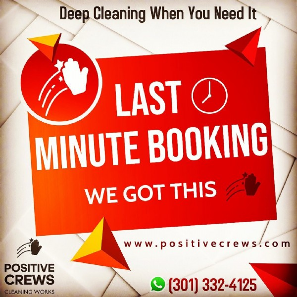 Photo by Positive Crews Cleaning Works in Windermere, Florida. May be an image of text that says 'Deep Cleaning When You Need It LAST の MINUTE BOOKING WE GOT THIS POSITIVE CREWS CLEANING WORKS www.positivecrews.com (301) 332-4125'.