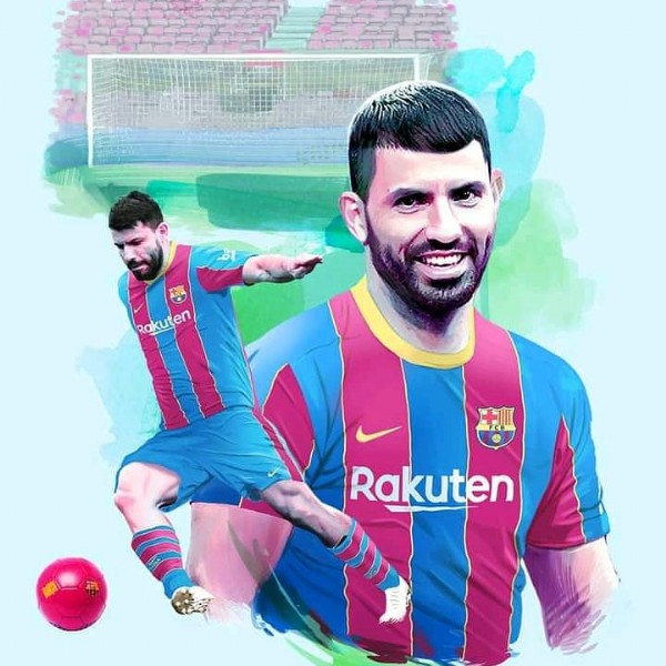 Photo shared by The World of Football on May 31, 2021 tagging @fcbarcelona, and @kunaguero. May be an image of 2 people and text that says 'Rakuten Rakuten'.