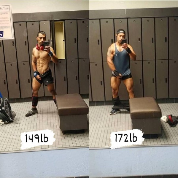 Photo by justbringit H5'9 goal w180 on July 31, 2021. May be an image of 2 people, biceps, beard, people standing, indoor and text that says 'Tips 149lb 172lb'.