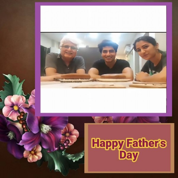 Photo shared by  jasmin harshad  on June 20, 2021 tagging @harshachopda, and @harshad_chopda. May be an image of 3 people and text that says 'Happy Father's Day'.