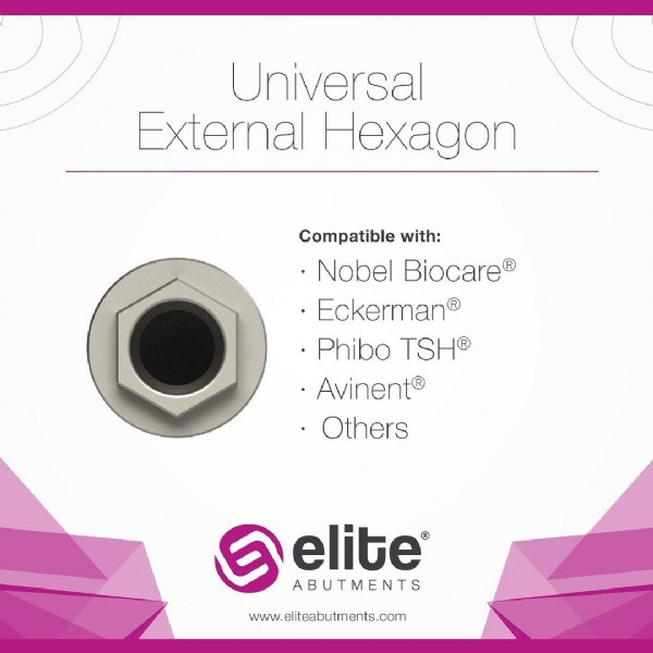 Photo by Elite Abutments on June 22, 2021. May be an image of text that says 'Universal External Hexagon Compatible with: •Nobel Biocare® Eckerman® Phibo TSH® •Avinent® •Others elite ABUTMENTS www.eliteabutments.com'.