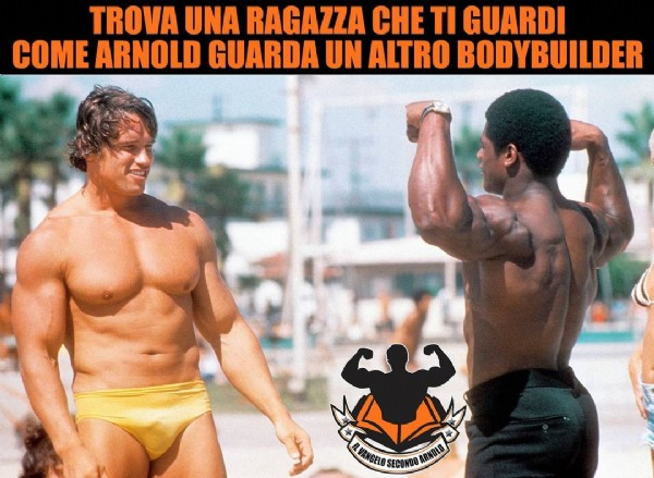 Photo by Il Vangelo secondo Arnold  on July 27, 2021. May be an image of 2 people, biceps and text that says 'TROVA UNA RAGAZZA CHE TI GUARDI COME ARNOLD GUARDA UN ALTRO BODYBUILDER VANGELO SECONDO ARNOLD'.