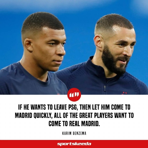 Photo shared by Sportskeeda Football on June 05, 2021 tagging @karimbenzema, and @k.mbappe. May be an image of 2 people and text that says 'IF He WANTS TO LEAVE PSG, THEN LET HIM COME TO MADRID QUICKLY, ALL OF THE GREAT PLAYERS WANT TO COME TO REAL MADRID. KARIM BENZEMA sportskeeda'.