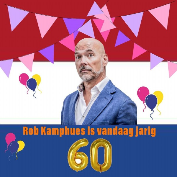 Photo by BN'R Nieuws in Pays-Bas (pays constitutif) with @robkamphuesf1. May be an image of 1 person, hair, outerwear and text that says 'Rob Kamphues is vandaag jarig 60'.