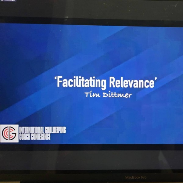 Photo by Intl Goalkeeper Coaches Conf on June 13, 2021. May be an image of screen and text that says ''Facilitating Relevance' tim Dittmer GOALREEDING COACH CONFERENCE'.