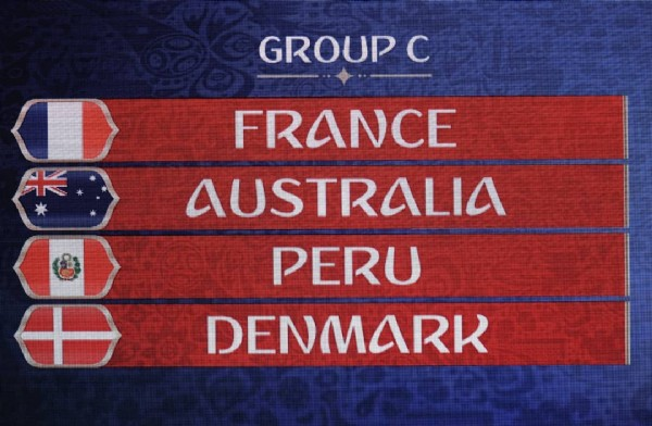 Photo by OptaJean on June 26, 2018. May be an image of text that says 'GROUP c ¥ FRANCE AUSTRALIA PERU DENMARK'.