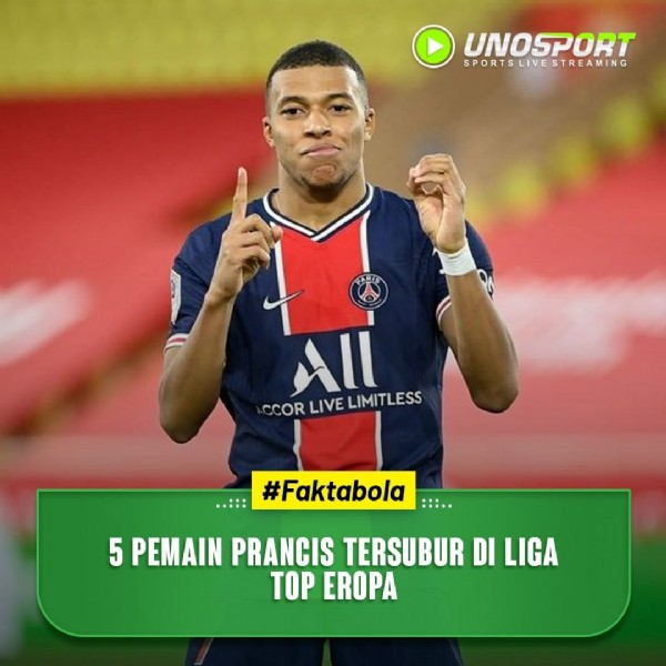 Photo by Unosport TV on April 05, 2021. May be an image of 1 person and text that says 'UNOSPORT SPIVSTREAMING CCOR LIVE LIMITLESS #Faktabola :: 5 PEMAIN PRANCIS TERSUBUR DI LIGA TOP EROPA'.