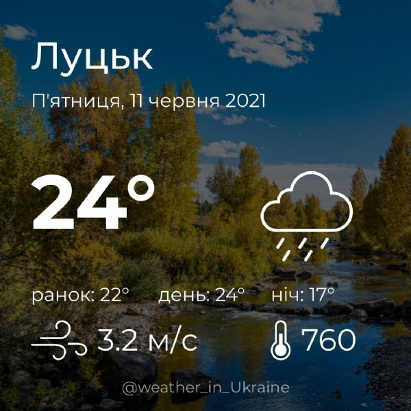 Photo by Weather_in on June 11, 2021. May be an image of text that says 'лyubK n'RTHиuR, 11 4epBHR 2021 24° AeHb: 24° paHoK: paHoK:22° 22° ತد 3.2 m/c Hi̇4: 17° 760 @weather_in_Ukraine'.