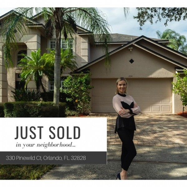 Photo by Real Estate with Irina Paul in Orlando, Florida with @amiraao.2013, and @captive_emotions. May be an image of 1 person, standing, tree, outdoors and text that says 'JUST SOLD in your neighborhood.... 330 Pinewild Orlando, FL 32828'.