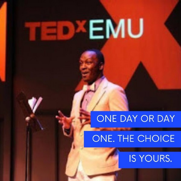 Photo by Aijalon Wallace on June 19, 2021. May be an image of 1 person and text that says 'TEDX EMU ONE DAY OR DAY ONE. THE CHOICE IS YOURS.'.