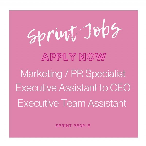 Photo by Sprint People on June 09, 2021. May be an image of one or more people and text that says 'Jobs APPLY NOW Marketing PR Specialist Executive Assistant to CEO Executive Team Assistant SPRINT PEOPLE'.
