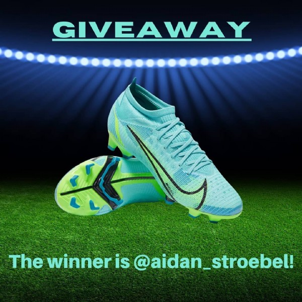 Photo shared by Coops Football Coaching on June 11, 2021 tagging @aidan_stroebel. May be an image of footwear and text that says 'GIVEAWAY The winner is @aidan_stroebel!'.