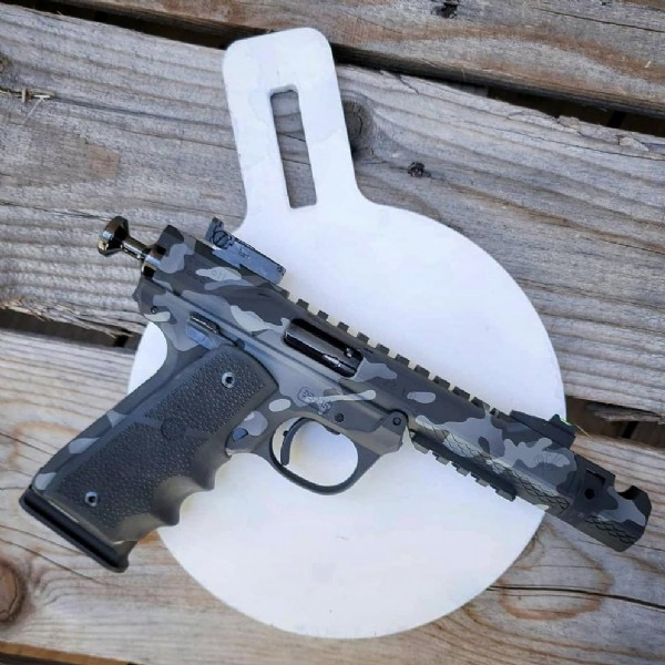 Photo shared by Volquartsen Firearms on June 21, 2021 tagging @thenssf, @hawktecharms, @cerakote, @hogueinc, @scholasticshootingsports, @letsgoshootingusa, @thesteelchallenge, and @rimfire_challenge.