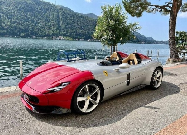 Photo shared by Ferrari Monza SP1 & SP2 on July 31, 2021 tagging @thesaintincarnate, and @only_monza. May be an image of car and outdoors.