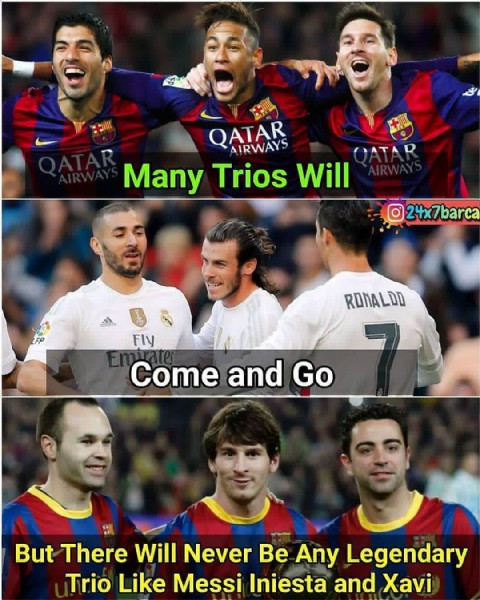 Photo by sports Page | ⚽️ on June 08, 2021. May be an image of 8 people and text that says 'QATAR AIRWAYS GATAD Many Trios Will 24x7barca σdള RONALDD Fly Come and CGo Go But There Will Never Be Any Legendary Trio Like Messi Iniesta and Xavi'.