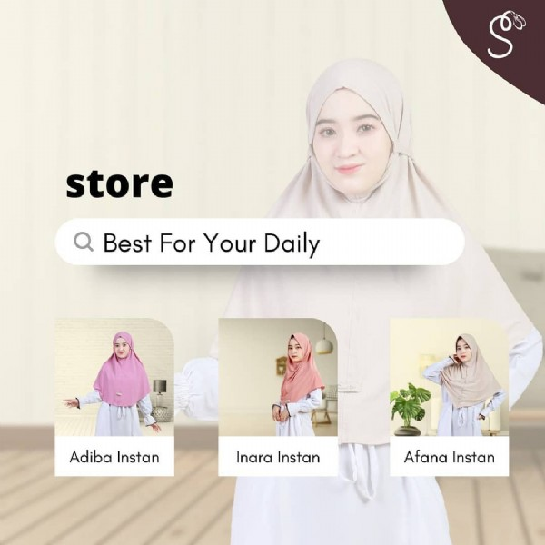 Photo by AsyaraStore92 on September 19, 2021. May be an image of 1 person, headscarf and text that says 'ም store Best For Your Daily Adiba AdibaInstan Instan Inara Inara Instan Afana Instan'.
