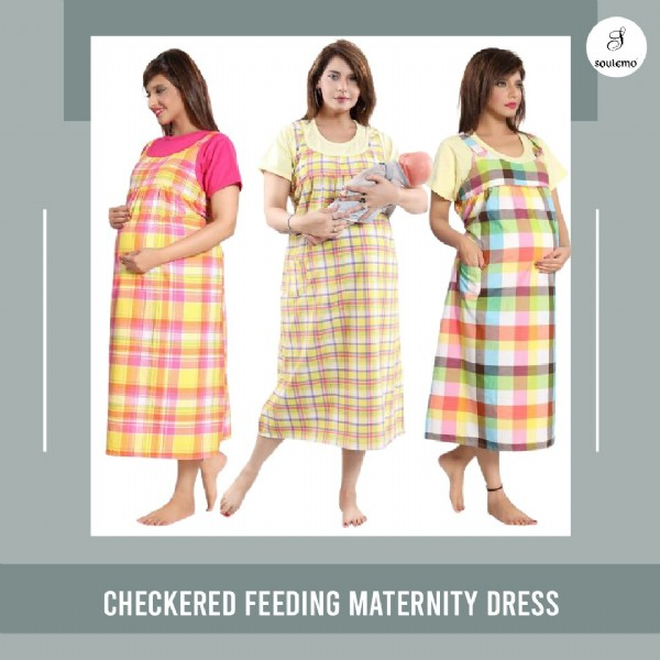 Photo by Soulemo on July 30, 2021. May be an image of 3 people, people standing and text that says 'soulemo CHECKERED FEEDING MATERNITY DRESS'.