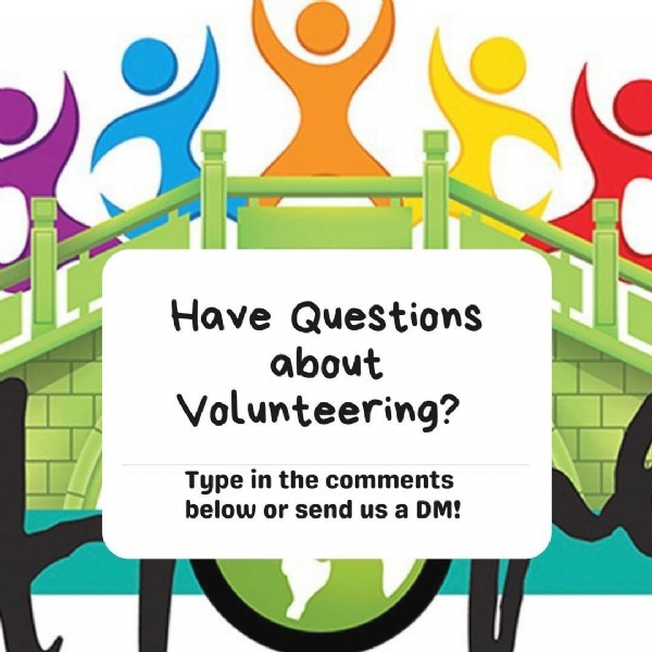 Photo by Beirut Bridge Of Hope in Beirut, Lebanon. May be a cartoon of one or more people and text that says 'Have Questions about Volunteering? Type in the comments below or send us a DM!'.