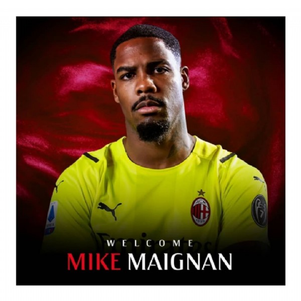 Photo by A&R Sports ⚽ in San Siro with @acmilan, and @maignan_fp. May be an image of 1 person and text that says 'WELCOME MIKE MAIGNAN'.