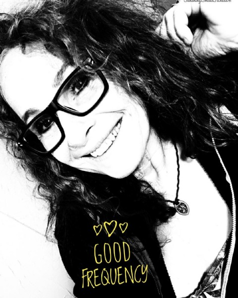 Photo by Sharon Stoltz in Sunshiny Smiles Fitness with @chrislarkin330, and @riehlstoltz. May be a black-and-white image of one or more people, eyeglasses and text that says 'GOOD FREQUENCY'.