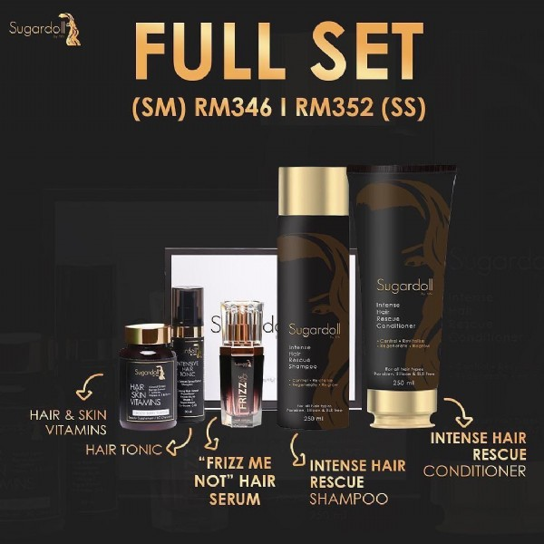 """Photo by Aika.Darlene on August 02, 2021. May be an image of cosmetics, fragrance, bottle and text that says 'Sugardoll FULL SET (SM) RM346  RM352 (SS) Sugardoll simmd Sugardol Conditioner .Regenerate.Regrow HAIR SKIN VITAMINS HAIRTONIC HAIR TONIC """"FRIZZ ME NOT"""" HAIR SERUM INTENSE HAIR RESCUE SHAMPOO INTENSE HAIR RESCUE CONDITIONER'."""