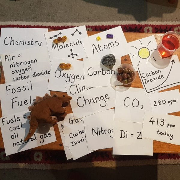 Photo by Jenny Brignell on September 19, 2021. May be an image of text that says 'Chemistru Molecule Atoms Carbon Dioxide Air nitrogen carbon oxygen dioxide Oxygen Carbon Fossil Cliniw Fuels Change Fuels coal oil nat al gas 280 CO2 413 ppm Carbo Nitros Di=2 today Dioxid'.